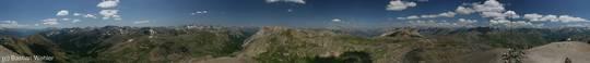 360 Grad Panorama vom Cime de la Bonette mit einem Rundumblick über die Alpen und den Nationalpark Mercantour