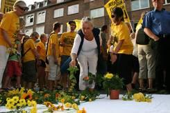 Ablage der gelben Blumen