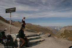Auf 2645 Metern Höhe am kleinen Parkplatz des Col du Galibier