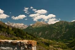 Ausblick ins Tal der Ubaye von der Straße von Süden hinauf zum Col de Vars