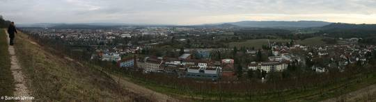 Ausblick vom Weinberg am Hohentwiel über Singen Richtung Bodensee, direkt am Fuß des Berges sieht man das Krankenhaus