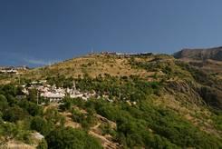 Blick von der Straße hinauf Richtung L'Alpe d'Huez