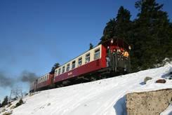 Brockenbahn im Winter: Der Zug nochmal von hinten