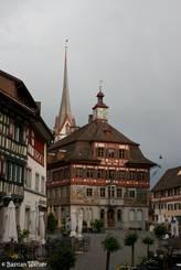 Das reich verzierte Rathaus in der Altstadt von Stein am Rhein