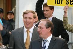 Der Vorsitzende der CDU-Landtagsfraktion Christian von Boetticher und Wissenschafts-, Wirtschafts- und Verkehrsminister Jost de Jager (ebenfalls CDU)