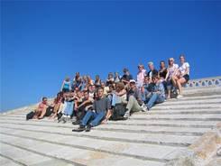 Gruppenfoto auf dem Dach der Wehrkirche in Stes-Maries-de-la-Mer