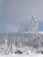 Harz: Brockenblick im Schnee