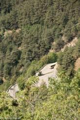Kehren der Straße hinauf nach Alpe d'Huez