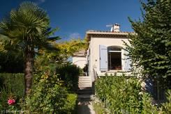 Schöner Garten mit großer Palme auf einem privaten Grundstück in La Tour d'Aigues