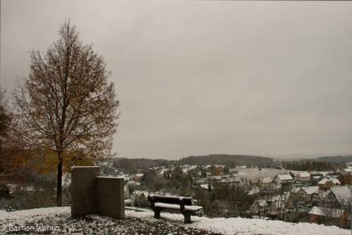 Wintereinbruch im Hegau, Ende Oktober liegt der erste Schnee z. B. hier in Aach